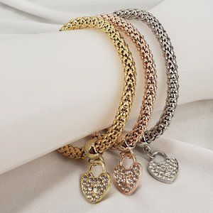 Stacking Bracelets with Heart Charm 3 pc Set